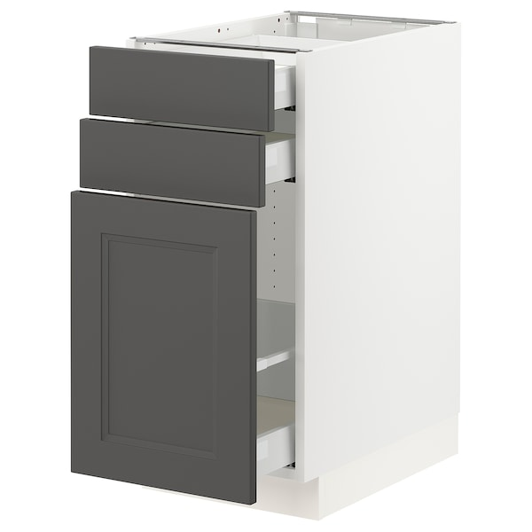 "SEKTION / MAXIMERA Base cabinet/p-out storage/2 drawer, white/Axstad dark gray, 15x24x30 """