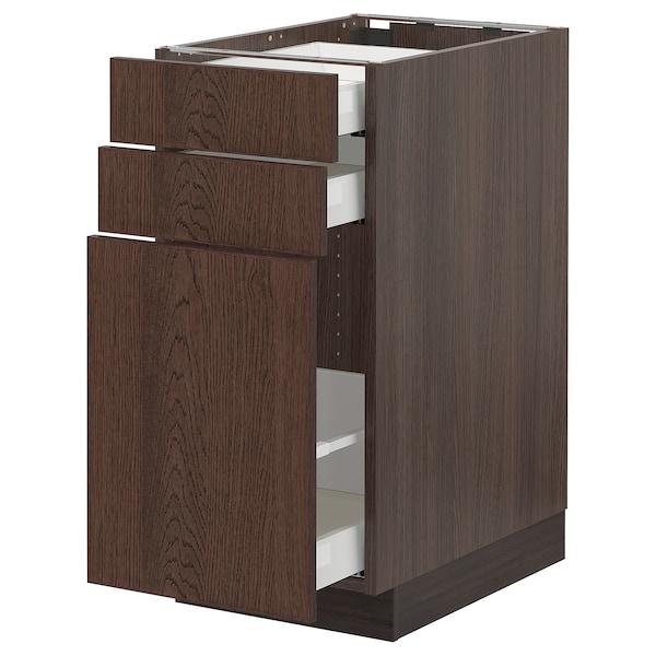 "SEKTION / MAXIMERA Base cabinet/p-out storage/2 drwrs, brown/Sinarp brown, 15x24x30 """