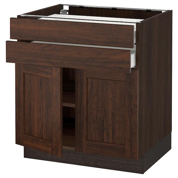 """SEKTION / MAXIMERA Base cabinet w 2 doors/2 drawers, brown/Edserum brown, 30x24x30 """""""