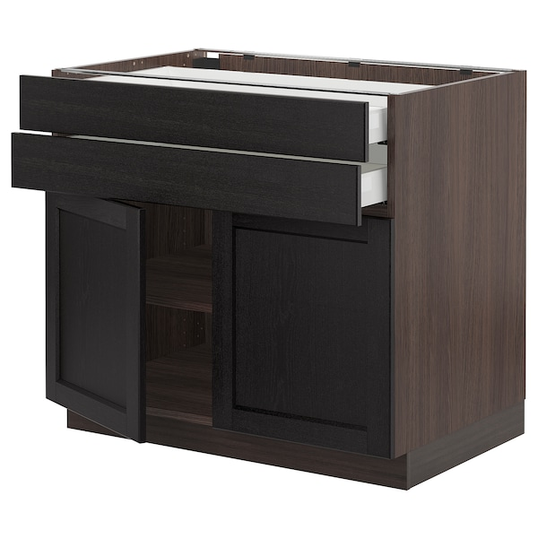 SEKTION / MAXIMERA Base cabinet w 2 doors/2 drawers, brown/Lerhyttan black stained, 36x24x30 ""