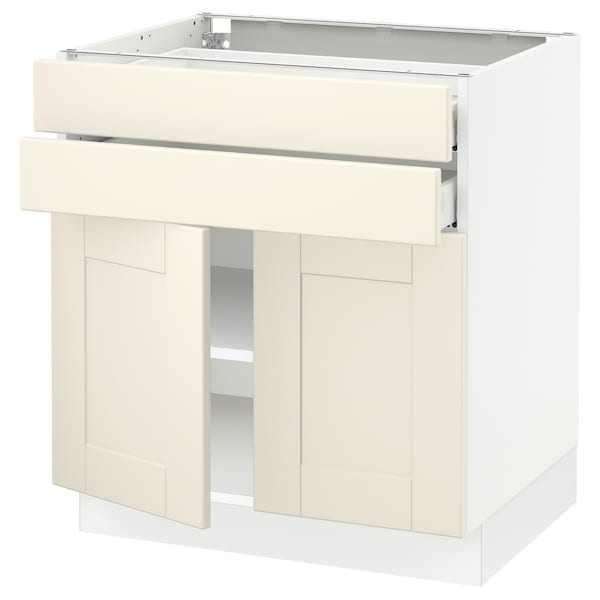 SEKTION / MAXIMERA Base cabinet w 2 doors/2 drawers, white/Grimslöv off-white, 30x24x30 ""
