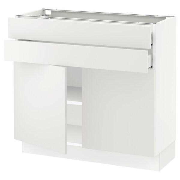 "SEKTION / MAXIMERA Base cabinet w 2 doors/2 drawers, white/Häggeby white, 36x15x30 """