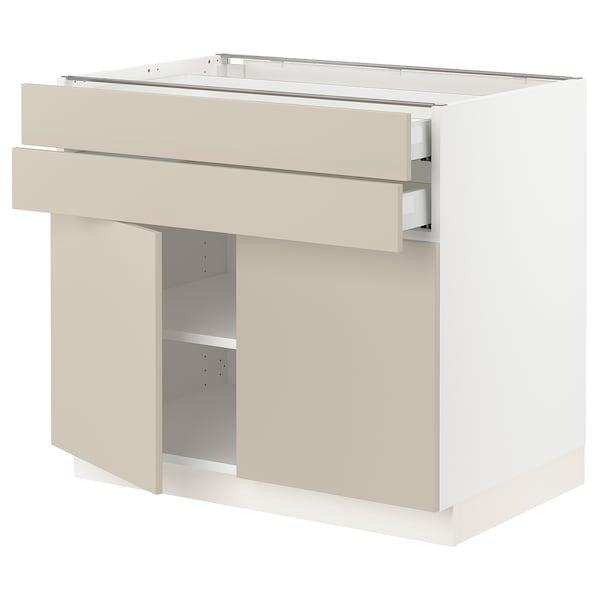 """SEKTION / MAXIMERA Base cabinet w 2 doors/2 drawers, white/Havstorp beige, 36x24x30 """""""