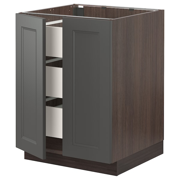 SEKTION / MAXIMERA Base cabinet w/2 doors & 3 drawers, brown/Axstad dark gray, 24x24x30 ""