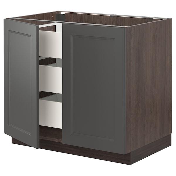 "SEKTION / MAXIMERA Base cabinet w/2 doors & 3 drawers, brown/Axstad dark gray, 36x24x30 """