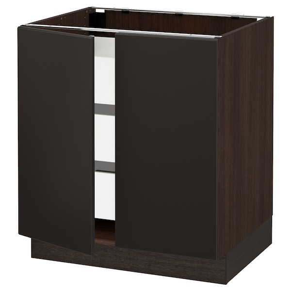 """SEKTION / MAXIMERA Base cabinet w 2 doors/3 drawers, brown/Kungsbacka anthracite, 30x24x30 """""""