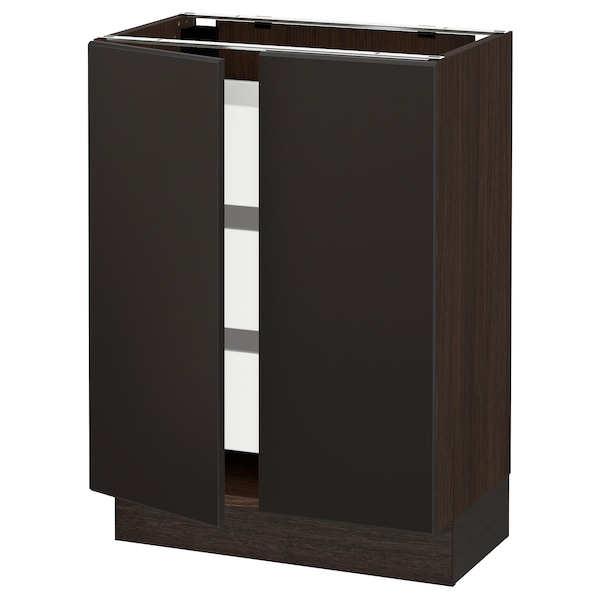 """SEKTION / MAXIMERA Base cabinet w 2 doors/3 drawers, brown/Kungsbacka anthracite, 24x15x30 """""""