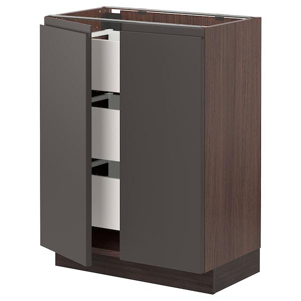 "SEKTION / MAXIMERA Base cabinet w 2 doors/3 drawers, brown/Voxtorp dark gray, 24x15x30 """