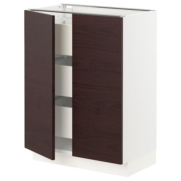 """SEKTION / MAXIMERA Base cabinet w/2 doors & 3 drawers, white Askersund/dark brown ash effect, 24x15x30 """""""