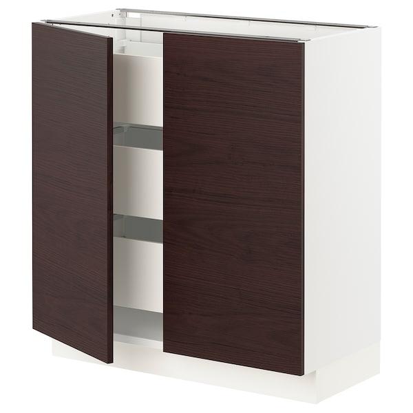 """SEKTION / MAXIMERA Base cabinet w/2 doors & 3 drawers, white Askersund/dark brown ash effect, 30x15x30 """""""