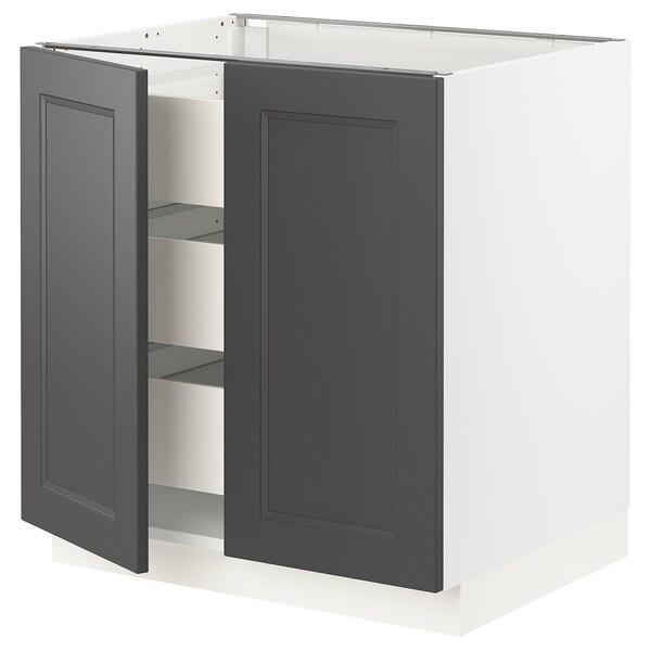 "SEKTION / MAXIMERA Base cabinet w/2 doors & 3 drawers, white/Axstad dark gray, 30x24x30 """