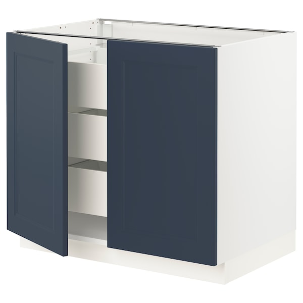 SEKTION / MAXIMERA Base cabinet w 2 doors/3 drawers, white Axstad/matte blue, 36x24x30 ""
