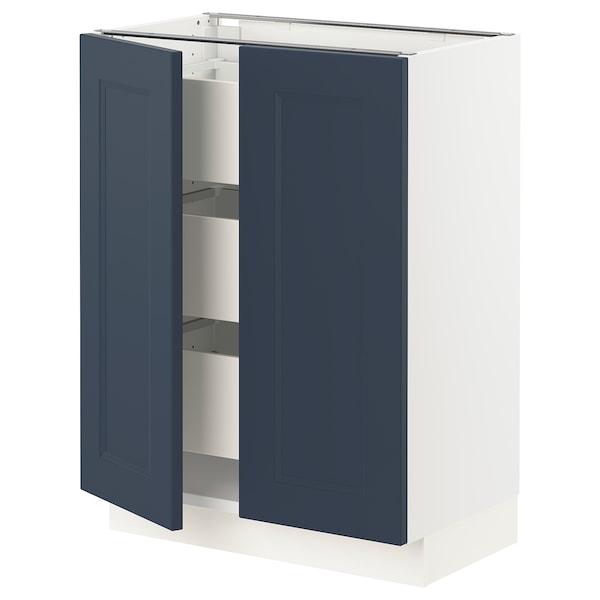 "SEKTION / MAXIMERA Base cabinet w 2 doors/3 drawers, white Axstad/matte blue, 24x15x30 """