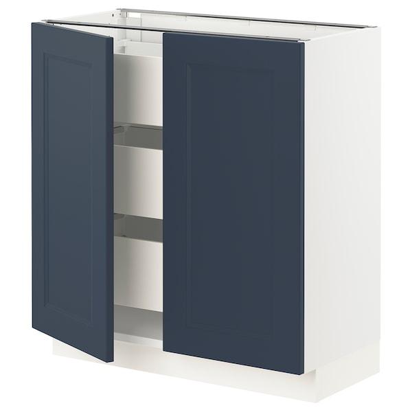 "SEKTION / MAXIMERA Base cabinet w 2 doors/3 drawers, white Axstad/matte blue, 30x15x30 """