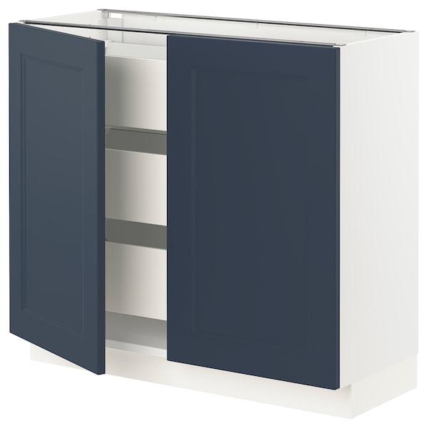 "SEKTION / MAXIMERA Base cabinet w 2 doors/3 drawers, white Axstad/matte blue, 36x15x30 """