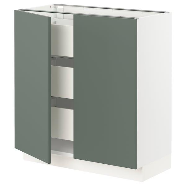 "SEKTION / MAXIMERA Base cabinet w 2 doors/3 drawers, white/Bodarp gray-green, 30x15x30 """