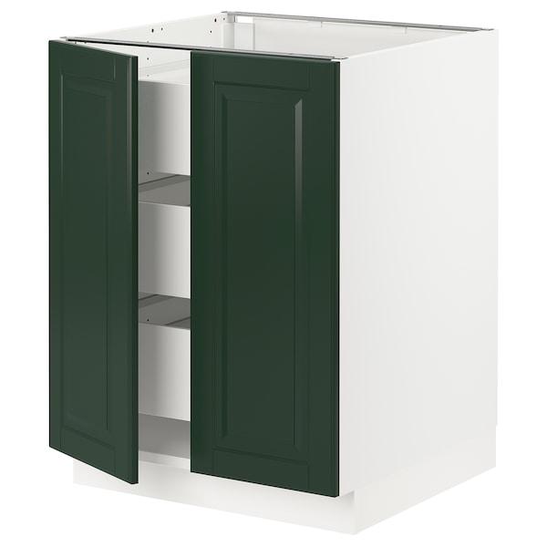 "SEKTION / MAXIMERA Base cabinet w 2 doors/3 drawers, white/Bodbyn dark green, 24x24x30 """