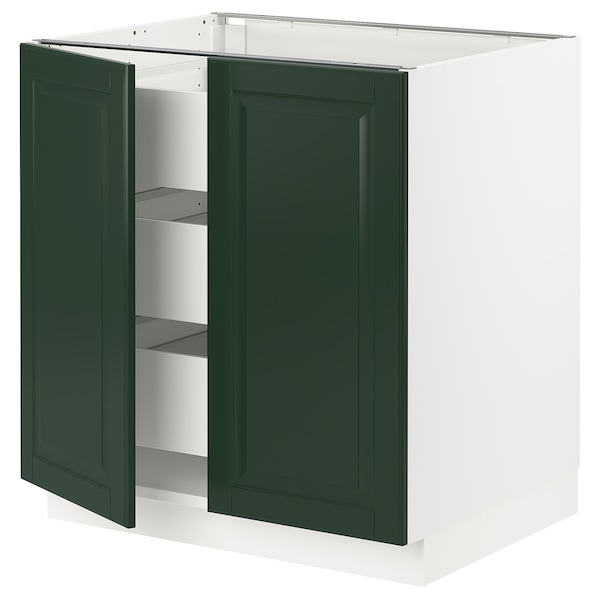 "SEKTION / MAXIMERA Base cabinet w 2 doors/3 drawers, white/Bodbyn dark green, 30x24x30 """