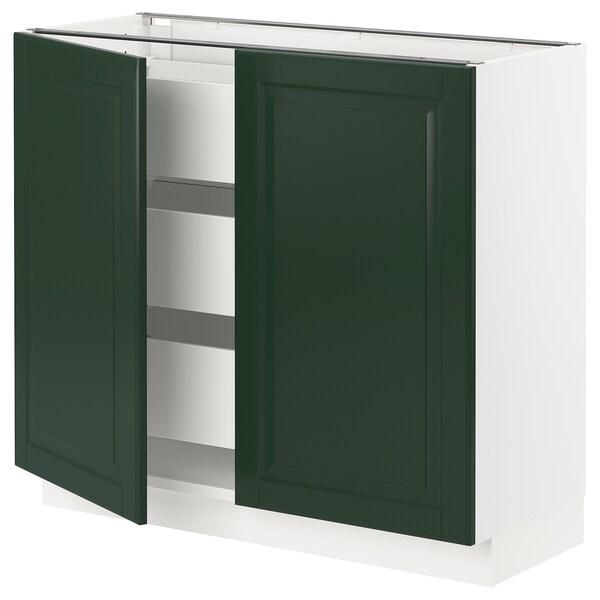 "SEKTION / MAXIMERA Base cabinet w 2 doors/3 drawers, white/Bodbyn dark green, 36x15x30 """