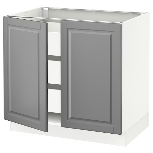 "SEKTION / MAXIMERA Base cabinet w 2 doors/3 drawers, white/Bodbyn gray, 36x24x30 """