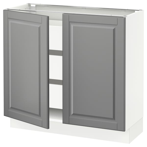 SEKTION / MAXIMERA Base cabinet w 2 doors/3 drawers, white/Bodbyn gray, 36x15x30 ""