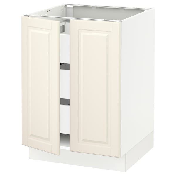 "SEKTION / MAXIMERA Base cabinet w 2 doors/3 drawers, white/Bodbyn off-white, 24x24x30 """