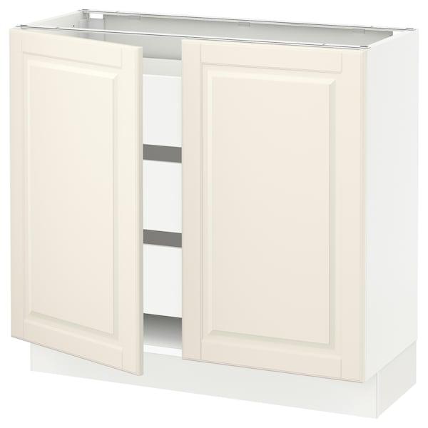 "SEKTION / MAXIMERA Base cabinet w 2 doors/3 drawers, white/Bodbyn off-white, 36x15x30 """