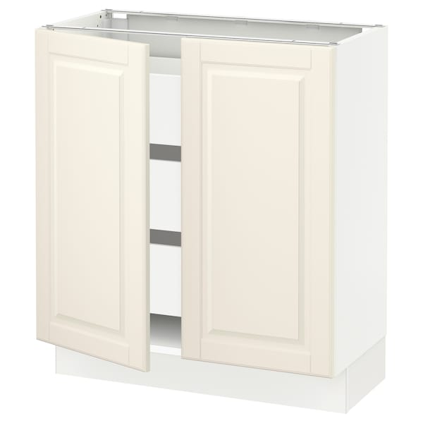 "SEKTION / MAXIMERA Base cabinet w 2 doors/3 drawers, white/Bodbyn off-white, 30x15x30 """