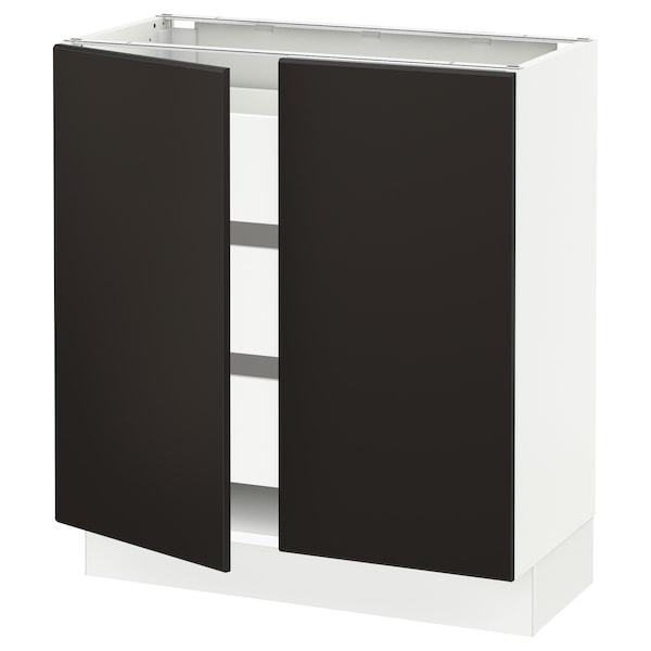 "SEKTION / MAXIMERA Base cabinet w 2 doors/3 drawers, white/Kungsbacka anthracite, 30x15x30 """