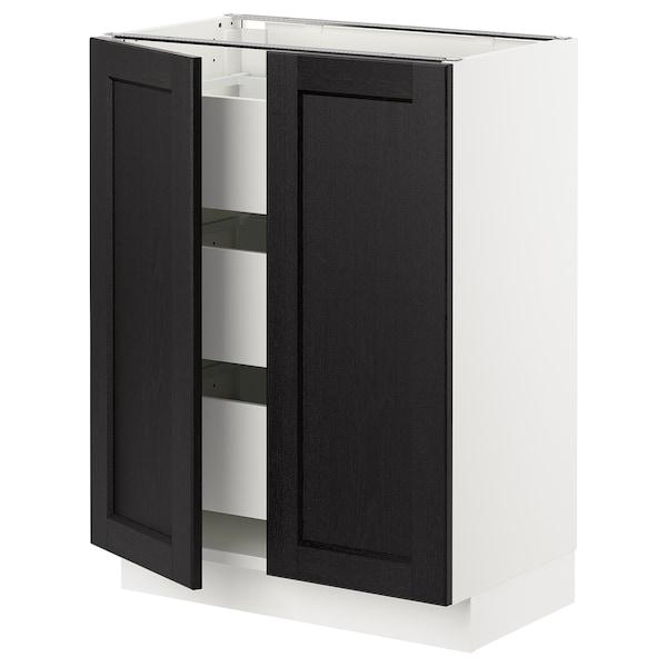 "SEKTION / MAXIMERA Base cabinet w 2 doors/3 drawers, white/Lerhyttan black stained, 24x15x30 """