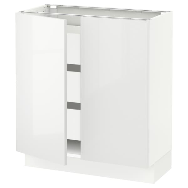 "SEKTION / MAXIMERA Base cabinet w 2 doors/3 drawers, white/Ringhult white, 30x15x30 """