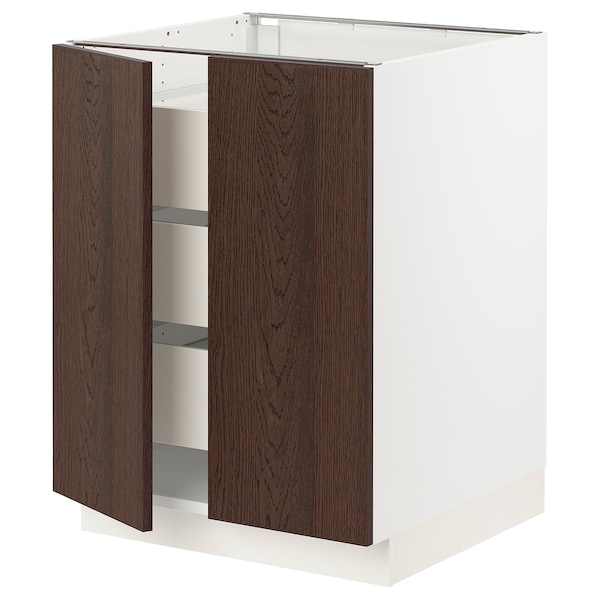 SEKTION / MAXIMERA Base cabinet w 2 doors/3 drawers, white/Sinarp brown, 24x24x30 ""