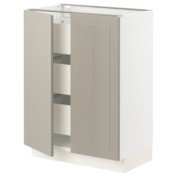 SEKTION / MAXIMERA Base cabinet w 2 doors/3 drawers, white/Stensund beige, 24x15x30 ""