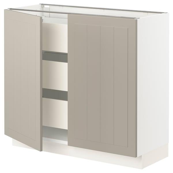 """SEKTION / MAXIMERA Base cabinet w 2 doors/3 drawers, white/Stensund beige, 36x15x30 """""""