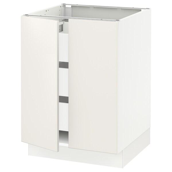 """SEKTION / MAXIMERA Base cabinet w 2 doors/3 drawers, white/Veddinge white, 24x24x30 """""""