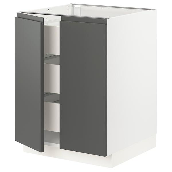 "SEKTION / MAXIMERA Base cabinet w 2 doors/3 drawers, white/Voxtorp dark gray, 24x24x30 """