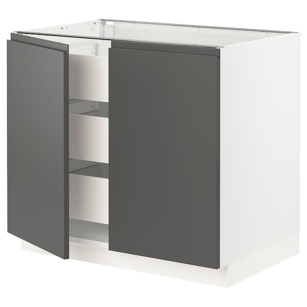 "SEKTION / MAXIMERA Base cabinet w 2 doors/3 drawers, white/Voxtorp dark gray, 36x24x30 """