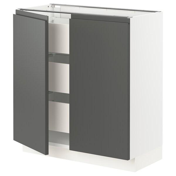 "SEKTION / MAXIMERA Base cabinet w 2 doors/3 drawers, white/Voxtorp dark gray, 30x15x30 """