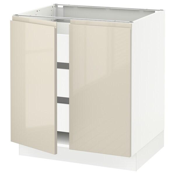 "SEKTION / MAXIMERA Base cabinet w 2 doors/3 drawers, white/Voxtorp high-gloss light beige, 30x24x30 """