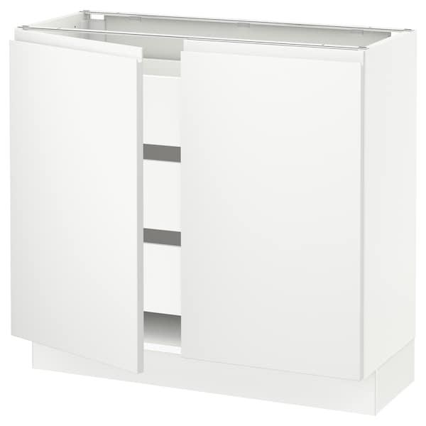 "SEKTION / MAXIMERA Base cabinet w 2 doors/3 drawers, white/Voxtorp matt white, 36x15x30 """