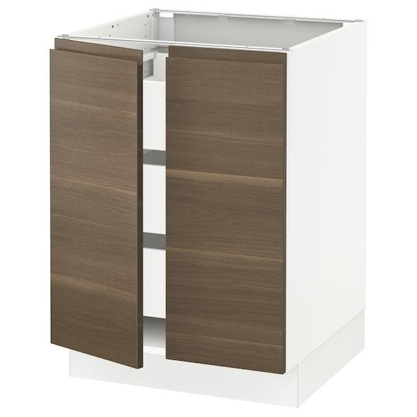 "SEKTION / MAXIMERA Base cabinet w 2 doors/3 drawers, white/Voxtorp walnut effect, 24x24x30 """