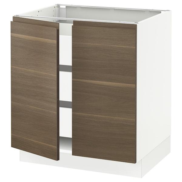 "SEKTION / MAXIMERA Base cabinet w 2 doors/3 drawers, white/Voxtorp walnut effect, 30x24x30 """