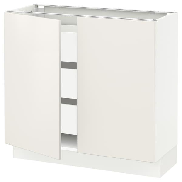 """SEKTION / MAXIMERA base cabinet w 2 doors/3 drawers white/Veddinge white 36 """" 15 """" 15 1/2 """" 30 """""""