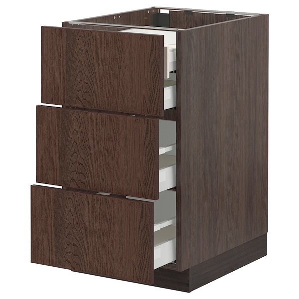 SEKTION / MAXIMERA Base cabinet w 3 fronts/4 drawers, brown/Sinarp brown, 18x24x30 ""