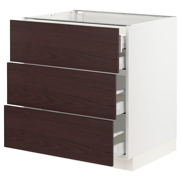 "SEKTION / MAXIMERA Base cabinet w/3 fronts & 4 drawers, white Askersund/dark brown ash effect, 30x24x30 """