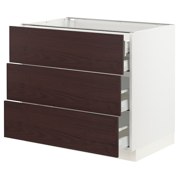 "SEKTION / MAXIMERA Base cabinet w/3 fronts & 4 drawers, white Askersund/dark brown ash effect, 36x24x30 """