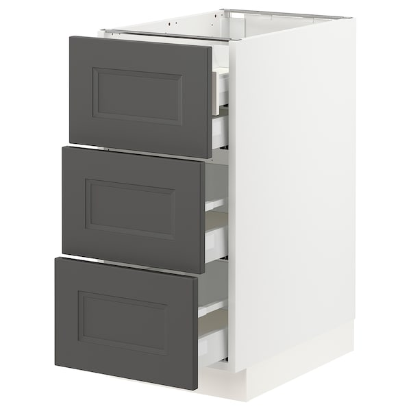SEKTION / MAXIMERA Base cabinet w/3 fronts & 4 drawers, white/Axstad dark gray, 15x24x30 ""