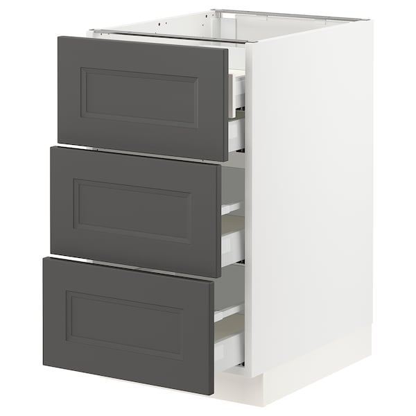 SEKTION / MAXIMERA Base cabinet w/3 fronts & 4 drawers, white/Axstad dark gray, 18x24x30 ""