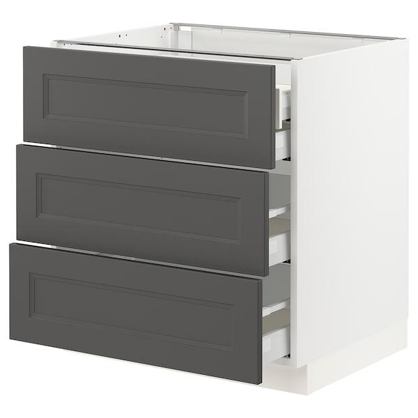 "SEKTION / MAXIMERA Base cabinet w/3 fronts & 4 drawers, white/Axstad dark gray, 30x24x30 """