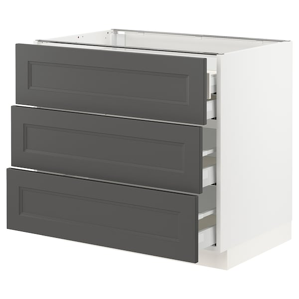SEKTION / MAXIMERA Base cabinet w/3 fronts & 4 drawers, white/Axstad dark gray, 36x24x30 ""